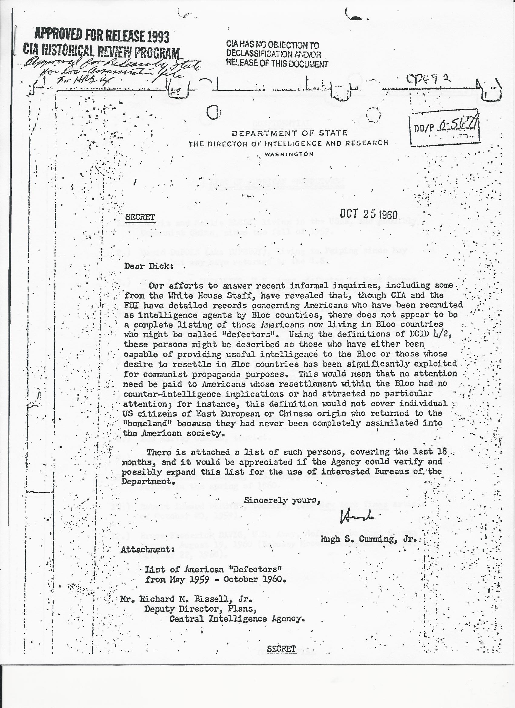 102560CUMMINGTOBISSELLREAMERICANDEFECTORS State RQST CIA List of Defectors