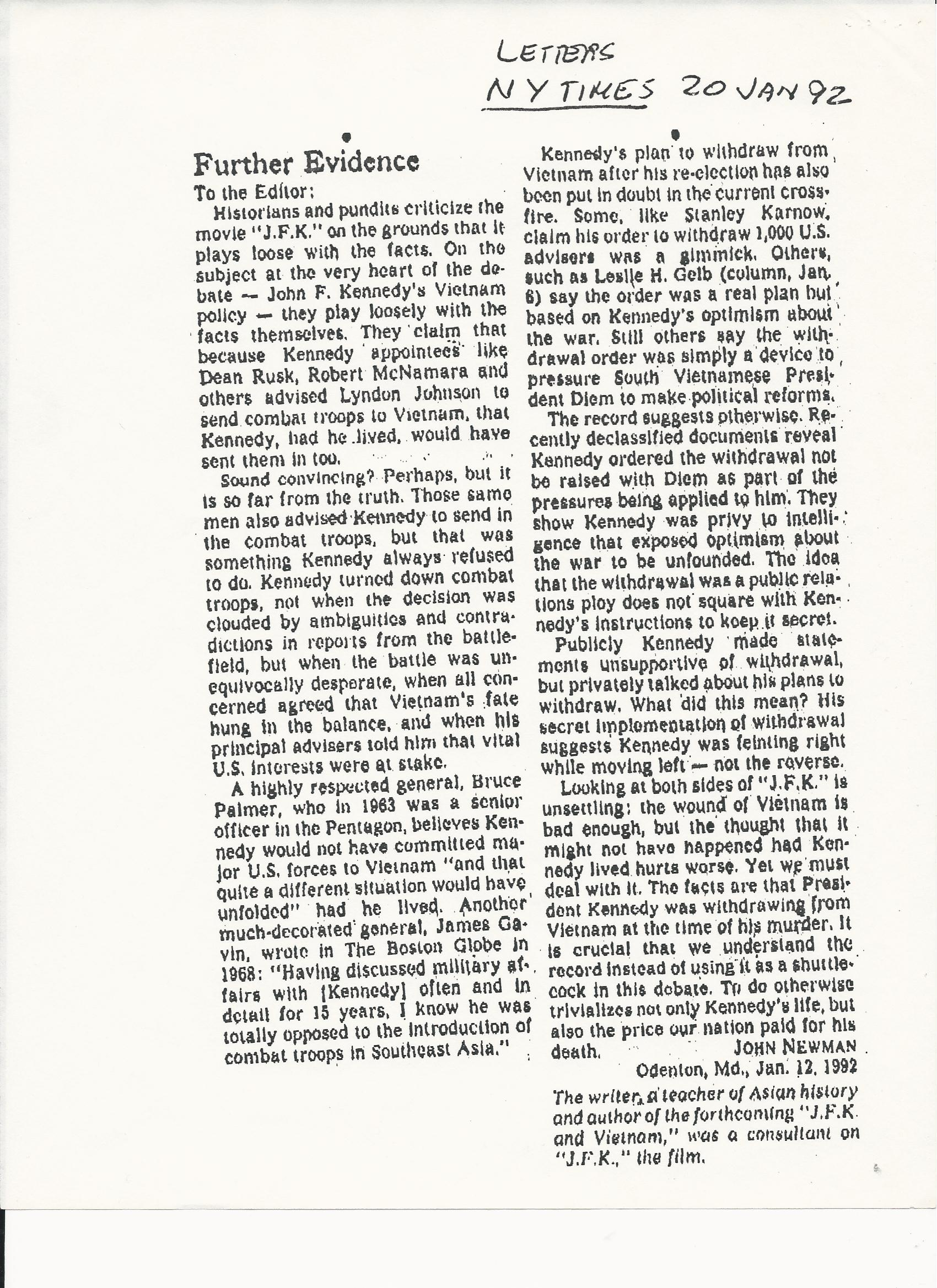 12092NYTJOHNNEWMAN 1/20/92 NYT Hilsman and Newman