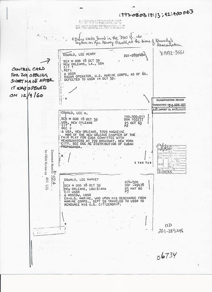 1260FILECONTROLCARDONLEEHENRY Lee Henry Oswald Control Card