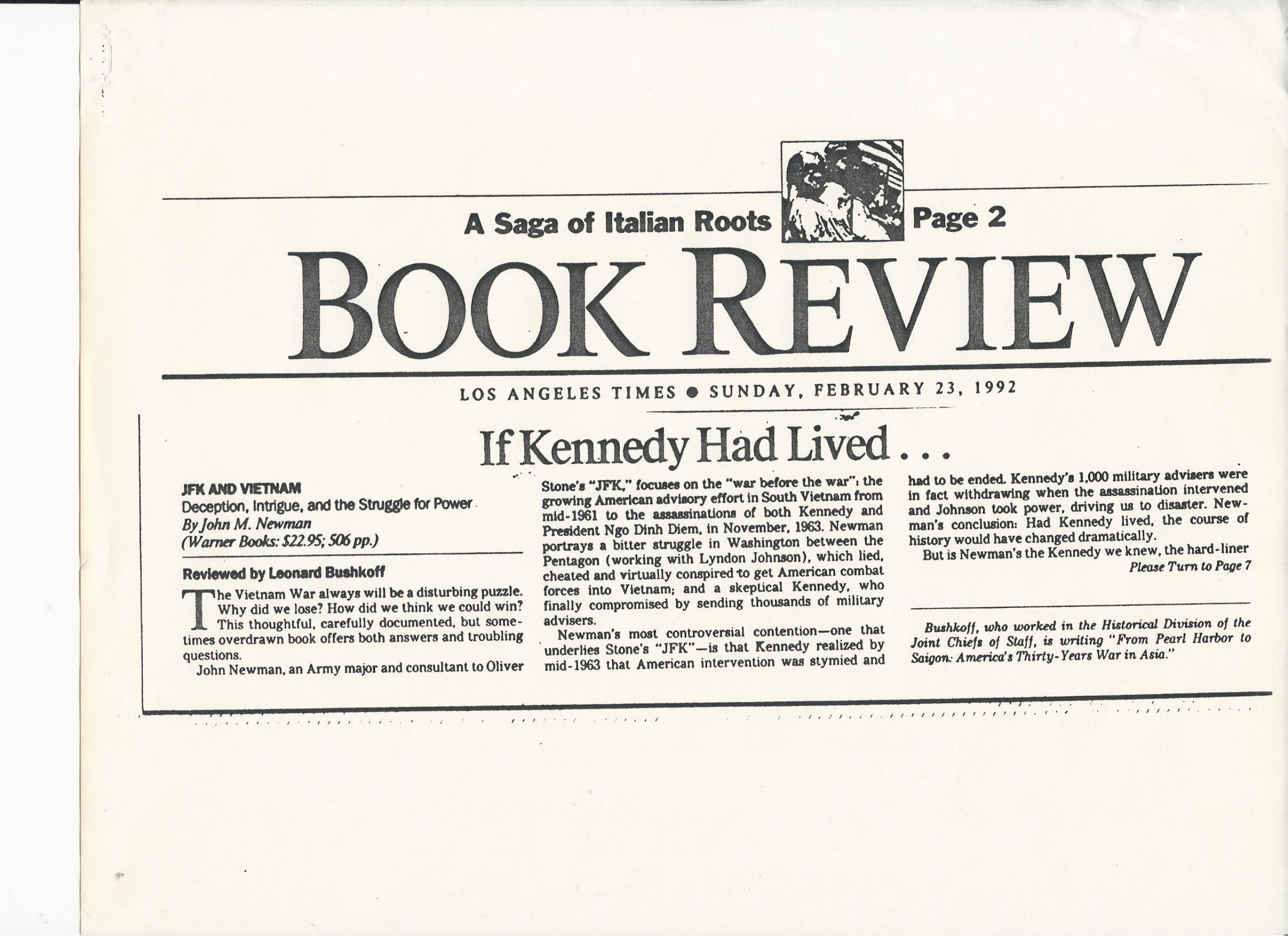 22392LATIMESBUSHKOFFP1 2/23/92 LA Times Review