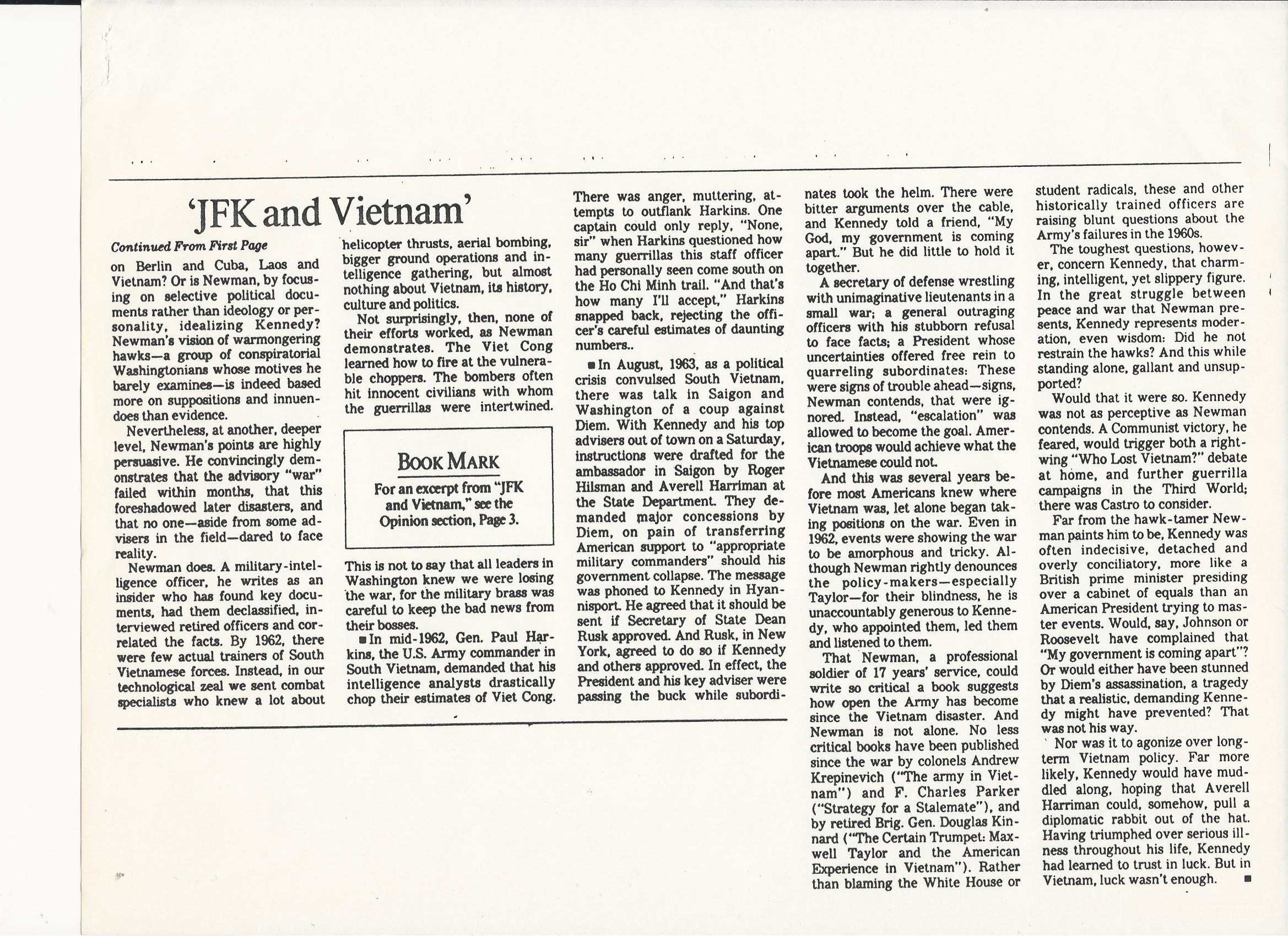 22392LATIMESBUSHKOFFP2 2/23/92 LA Times Review