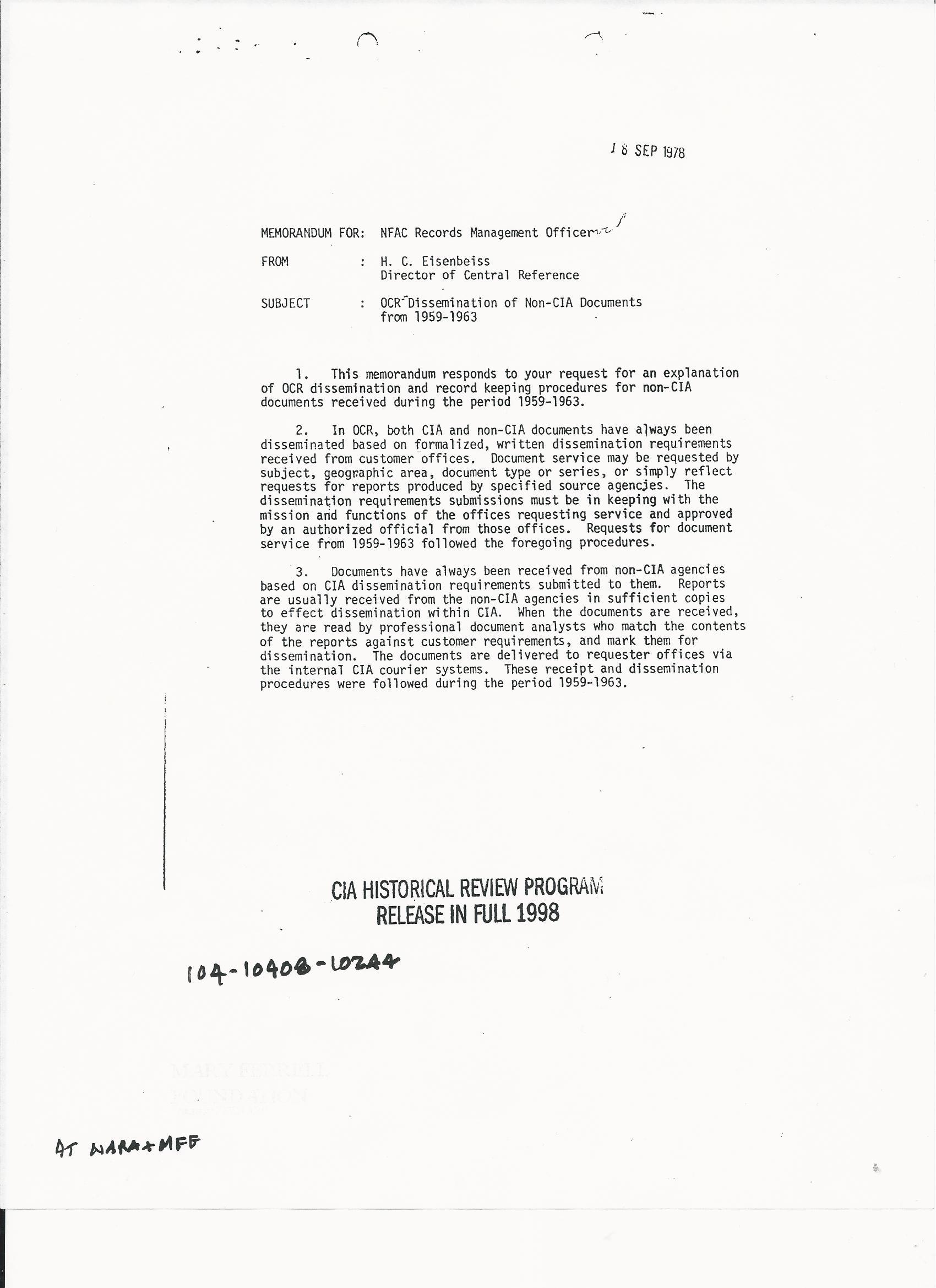 EISENBESS1 Eisenbeiss Memo RE non-CIA Docs