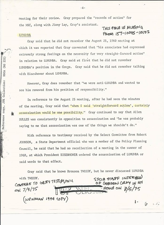 GRAYASSASSINATIONWASPOSSMEANING Gray's Lie RE Lumumba Murder Order