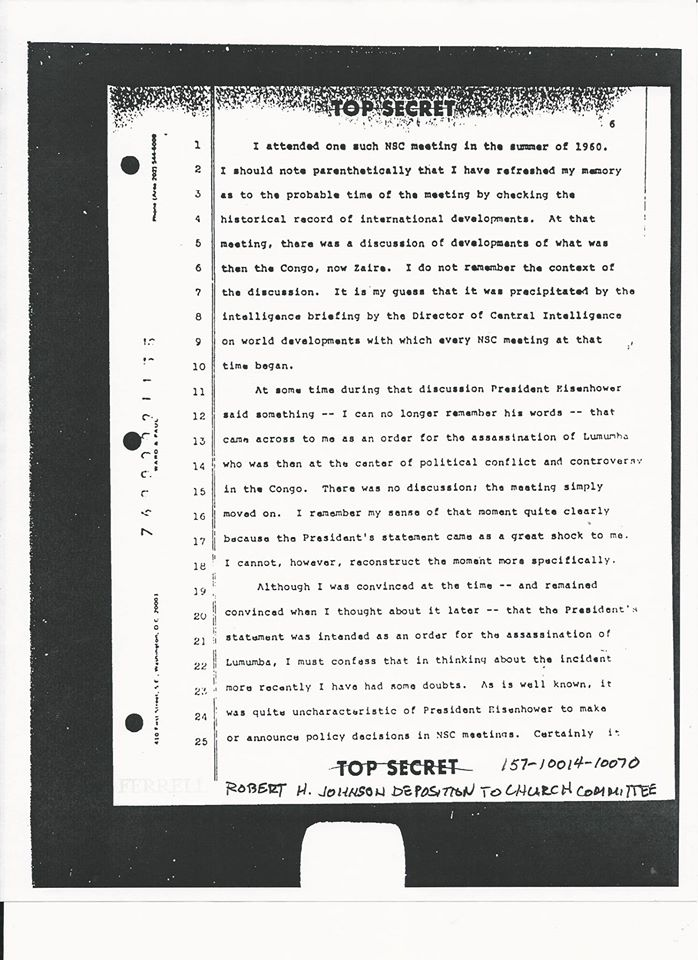 ROBERTJOHNSON61875TESTIMONYONIKEORDER Ike's Order to Kill Lumumba