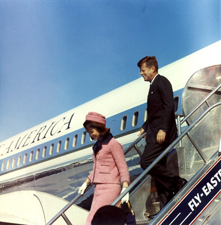 President and Mrs. Kennedy arrive at Love Field, Dallas, Texas on November 22, 1963.  Photograph by Cecil Stoughton , White House, in the John F. Kennedy Presidential Library and Museum, Boston.