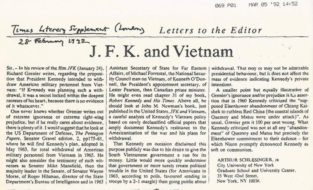 22892LONTIMESLITSUPPSCHLESINGER-1024x623 2/28/92 Schlesinger Letter to London Times
